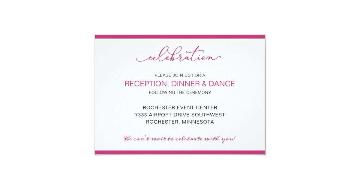 Wedding Reception Card With Short Order Of Events Zazzle Co Uk