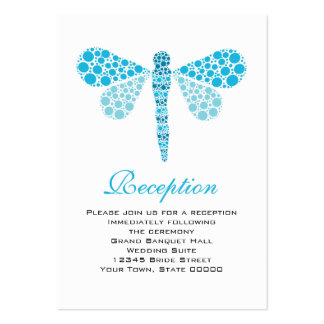 Wedding Reception Cards Blue & White Dragonfly Pack Of Chubby Business Cards