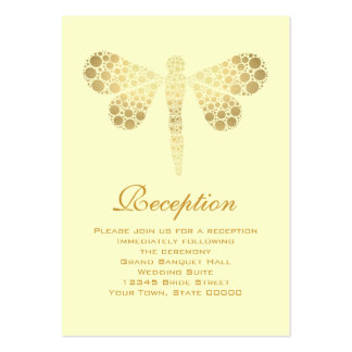 Wedding Reception Cards Ivory & Gold Dragonfly Pack Of Chubby Business Cards