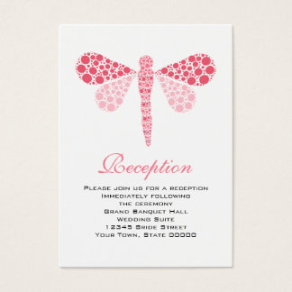 Wedding Reception Cards Pink & White Dragonfly