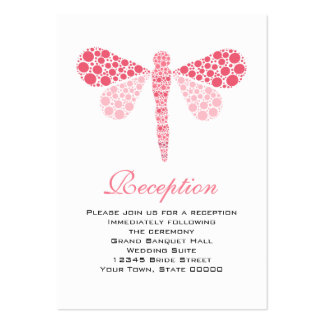 Wedding Reception Cards Pink & White Dragonfly Pack Of Chubby Business Cards