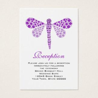 Wedding Reception Cards Purple & White Dragonfly