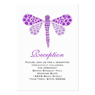 Wedding Reception Cards Purple & White Dragonfly Pack Of Chubby Business Cards