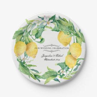Wedding Reception Citrus Lemon Floral Leaf Wreath 7 Inch Paper Plate
