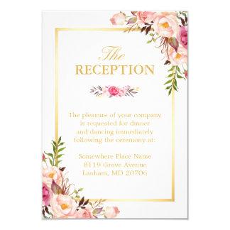 Wedding Reception Elegant Chic Floral Gold Frame 9 Cm X 13 Cm Invitation Card