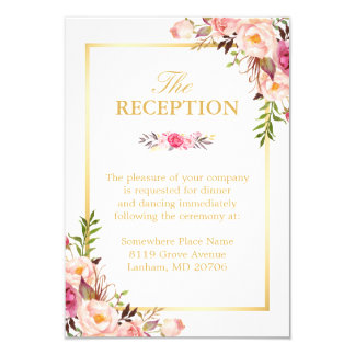 Wedding Reception Elegant Chic Floral Gold Frame Card