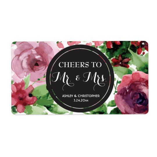 Wedding Reception Mini Champagne Label Floral Shipping Label
