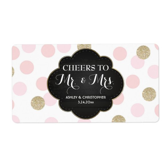 Wedding Reception Mini Champagne Label Polka Dots Shipping