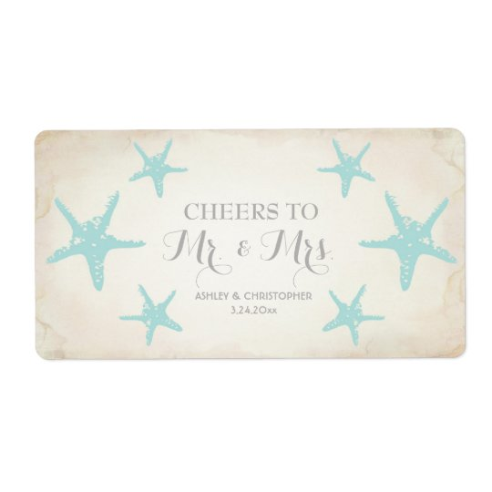 Wedding Reception Mini Champagne Label Starfish Shipping Label