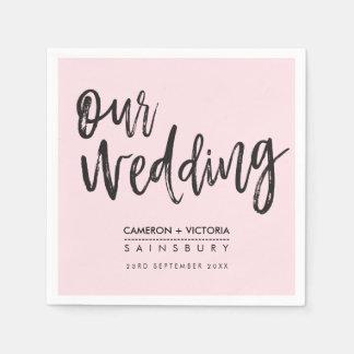 WEDDING RECEPTION modern hand lettered type pink Paper Napkin