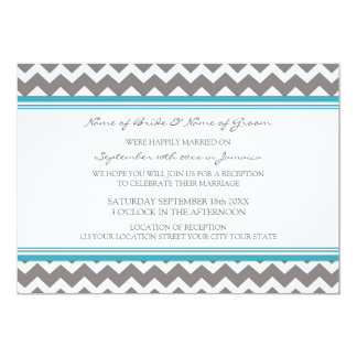 Wedding Reception Only Grey Teal Chevron 5x7 Paper Invitation Card