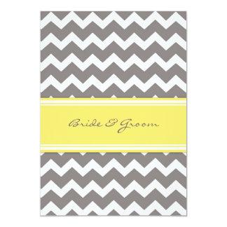 Wedding Reception Only Grey Yellow Chevron Card