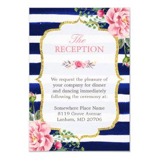 Wedding Reception Pink Floral Navy Blue Striped 9 Cm X 13 Cm Invitation Card