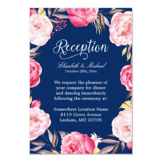 Wedding Reception Pink Floral Wreath Navy Blue 9 Cm X 13 Cm Invitation Card