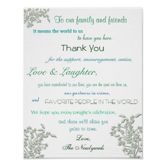 Wedding Reception Poster, Thank You Sign Poster