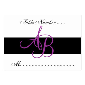Wedding Reception Purple Monogram Table Place Card Pack Of Chubby Business Cards