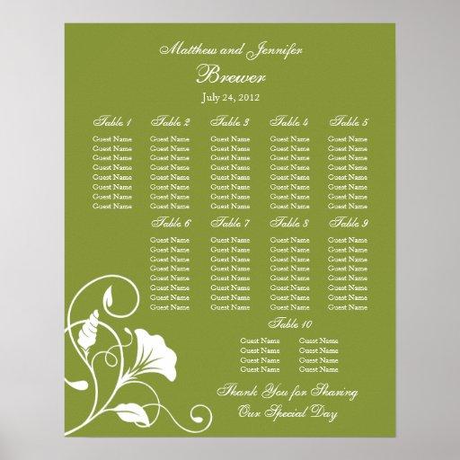 Wedding Reception Seating Chart - Standard Sizes | Zazzle