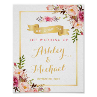 Wedding Reception Sign Elegant Chic Floral Gold