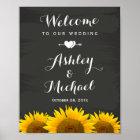 Wedding Reception Sign Heart Sunflowers Chalkboard