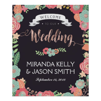 Wedding Reception sign / Rustic wedding floral Poster