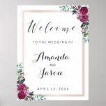 Wedding reception sign Welcome elegant chic floral
