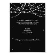 Wedding Reception Sparkling String Black 11 Cm X 16 Cm Invitation Card