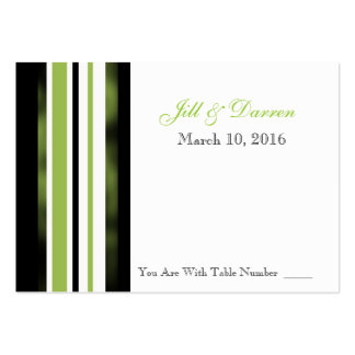 Wedding Reception Table Number Card Green Stripes Pack Of Chubby Business Cards