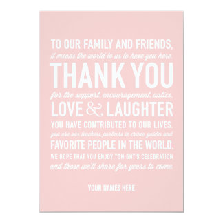 Wedding Reception Thank You Message Card in Pink 13 Cm X 18 Cm Invitation Card