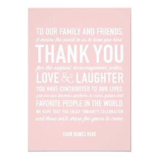 Wedding Reception Thank You Message Card in Pink 13 Cm X 18 Cm Invitation Card