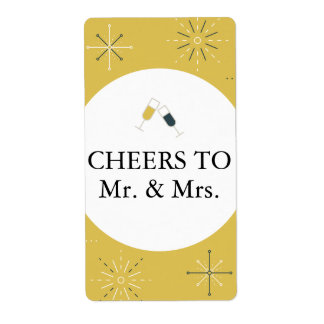 Wedding Reception Wine Bottle Label Retro Design Shipping Label