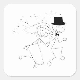 Wedding Recessional Couple Square Sticker