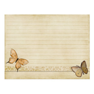 Wedding Recipe Card Vintage Cream Butterfly Postcard