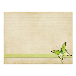 Wedding Recipe Card Vintage Green Butterfly Postcard