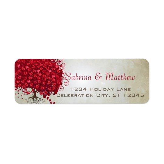 Wedding Red Heart Leaf Tree Return Address