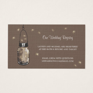 Wedding Registry Card Mason Jar & Fireflies