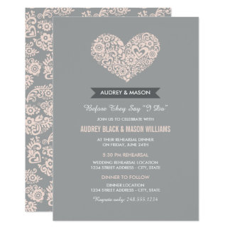 Wedding Rehearsal and Dinner | Gray and Blush Pink 13 Cm X 18 Cm Invitation Card