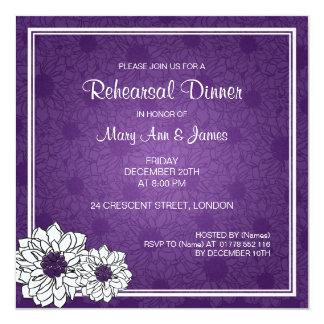 Wedding Rehearsal Dinner Dahlia Floral Purple Card