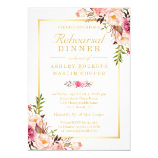 Wedding Rehearsal Dinner Elegant Chic Gold Floral 13 Cm X 18 Cm Invitation Card