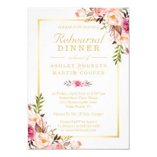 Wedding Rehearsal Dinner Elegant Chic Gold Floral 13 Cm X 18 Cm Invitation Card