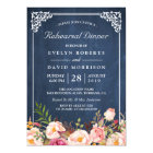Wedding Rehearsal Dinner Floral Blue Chalkboard Card