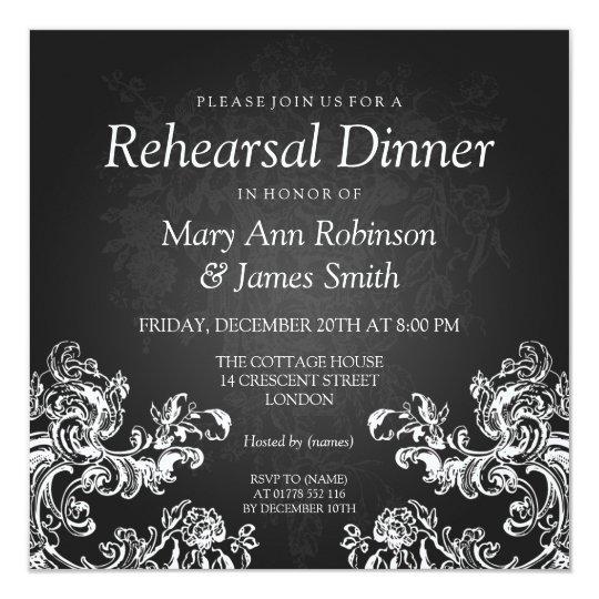 Wedding Rehearsal Dinner Vintage Swirls 2 Black Card