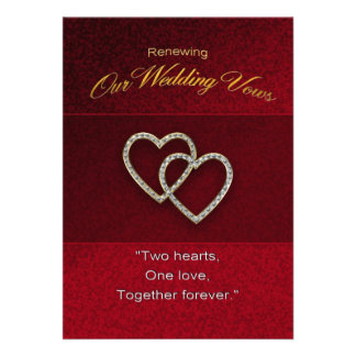 Wedding Renewal - Two Hearts are One Announcement