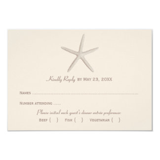 Wedding Reply Card 2 | Neutral Starfish 9 Cm X 13 Cm Invitation Card