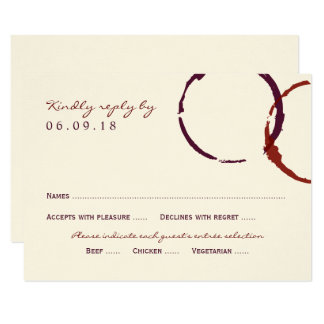 Wedding Reply Card   Wine Stain Rings