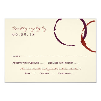 Wedding Reply Card | Wine Stain Rings 9 Cm X 13 Cm Invitation Card