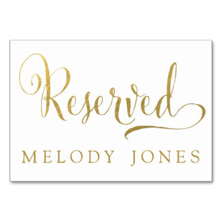 Wedding Reserved Place Cards Gold Personalised Table Cards