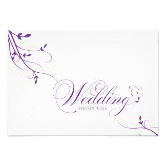 Wedding Response RSVP Card Simple Elegance Leafy