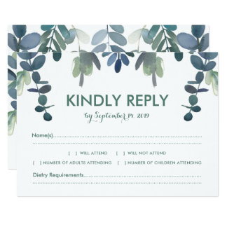 Wedding Response Rustic Eucalyptus Greenery RSVP Card