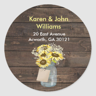 Wedding Return Address Label Mason Jar Sunflower Round Sticker