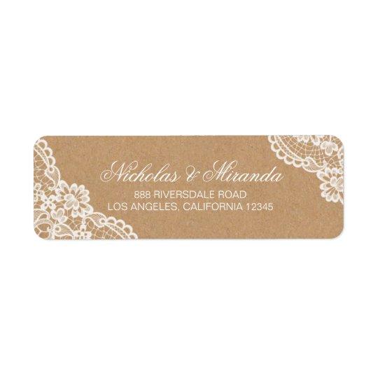 wedding return address labels, lace, kraft